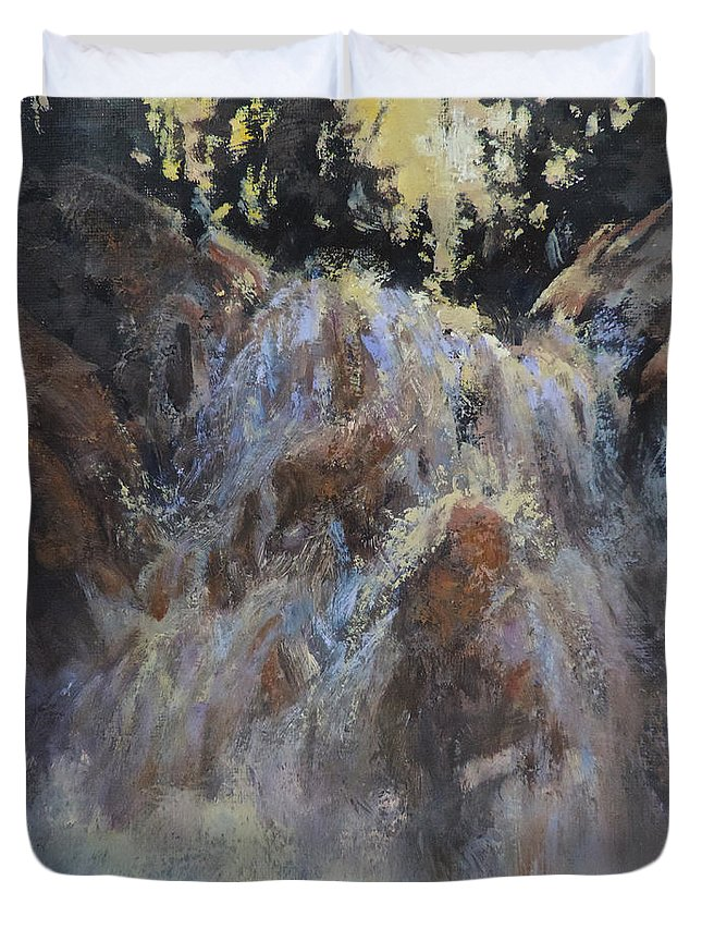 Waterfall Duvet Cover featuring the painting Freefall by Mia DeLode