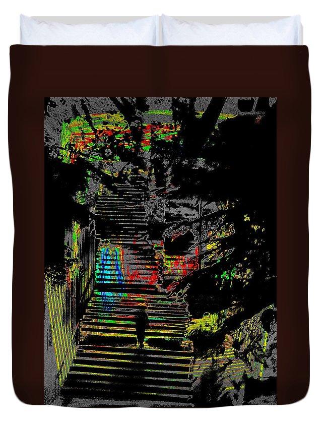 Seattle Duvet Cover featuring the digital art Freeway Park Steps by Tim Allen