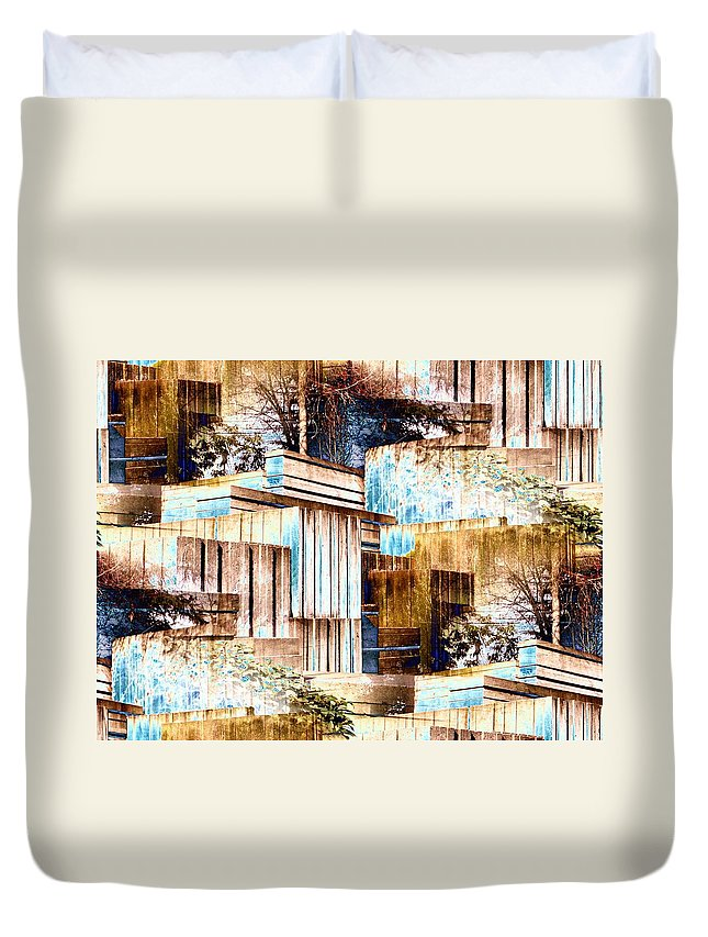 Seattle Duvet Cover featuring the digital art Freeway Park by Tim Allen