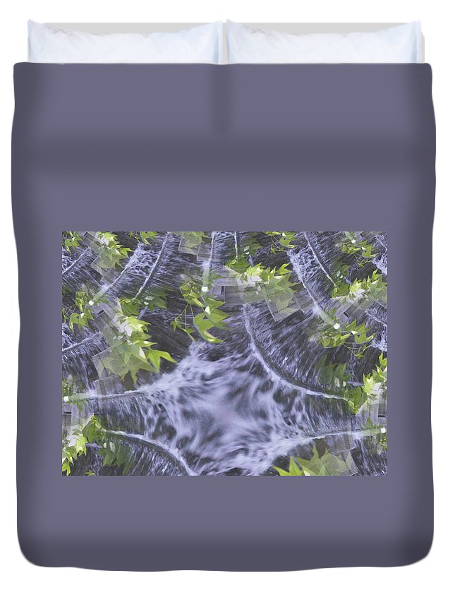 Seattle Duvet Cover featuring the digital art Freeway Park Waterfall 2 by Tim Allen