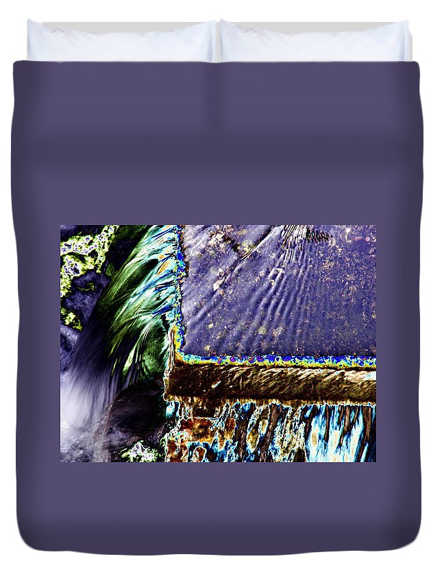 Seattle Duvet Cover featuring the digital art Freeway Park Waterfall by Tim Allen