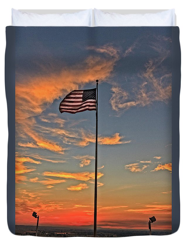 Gem County Duvet Cover featuring the photograph Freezeout Hill Memorial by Robert Bales