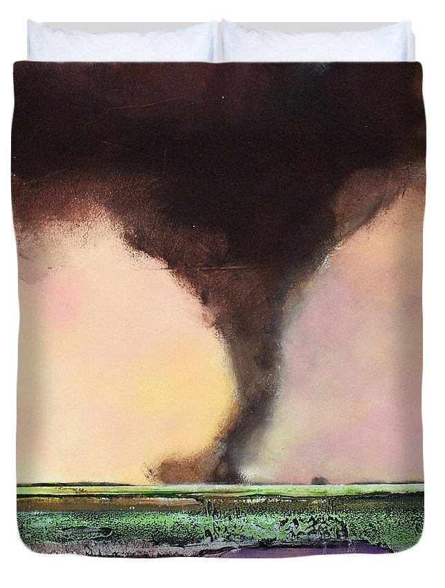 Tornado Duvet Cover featuring the painting Freight Train A Comin by Toni Grote