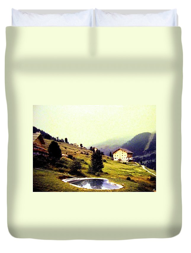 1955 Duvet Cover featuring the photograph French Alps 1955 by Will Borden