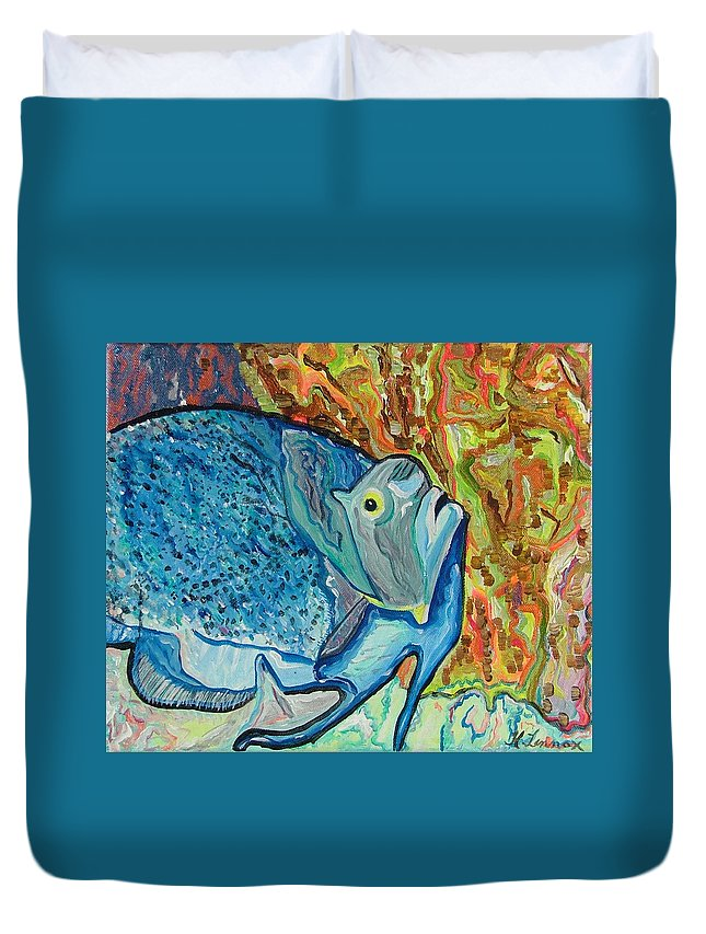 French Duvet Cover featuring the painting French Angle Fish by Heather Lennox