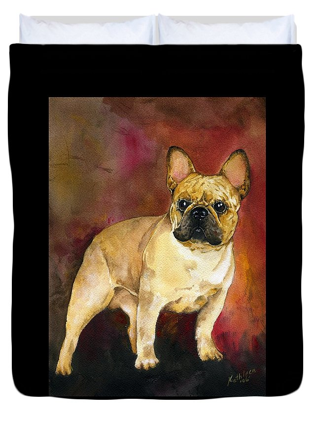 French Bulldog Duvet Cover featuring the painting French Bulldog by Kathleen Sepulveda