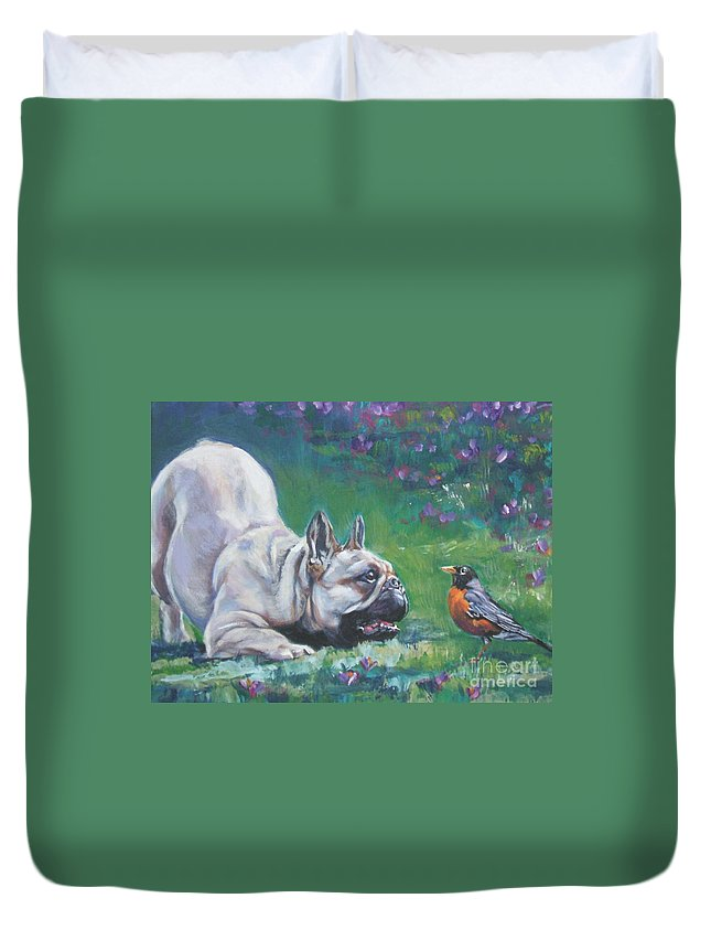 Dog Duvet Cover featuring the painting French Bulldog Meets Robin Redbreast by Lee Ann Shepard
