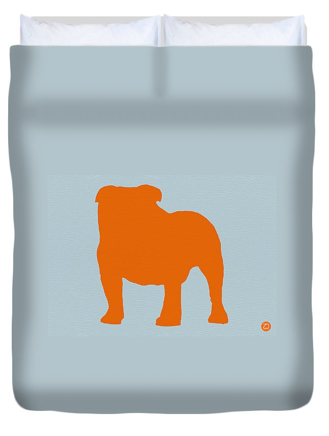 French Bulldog Duvet Cover featuring the digital art French Bulldog Orange by Naxart Studio