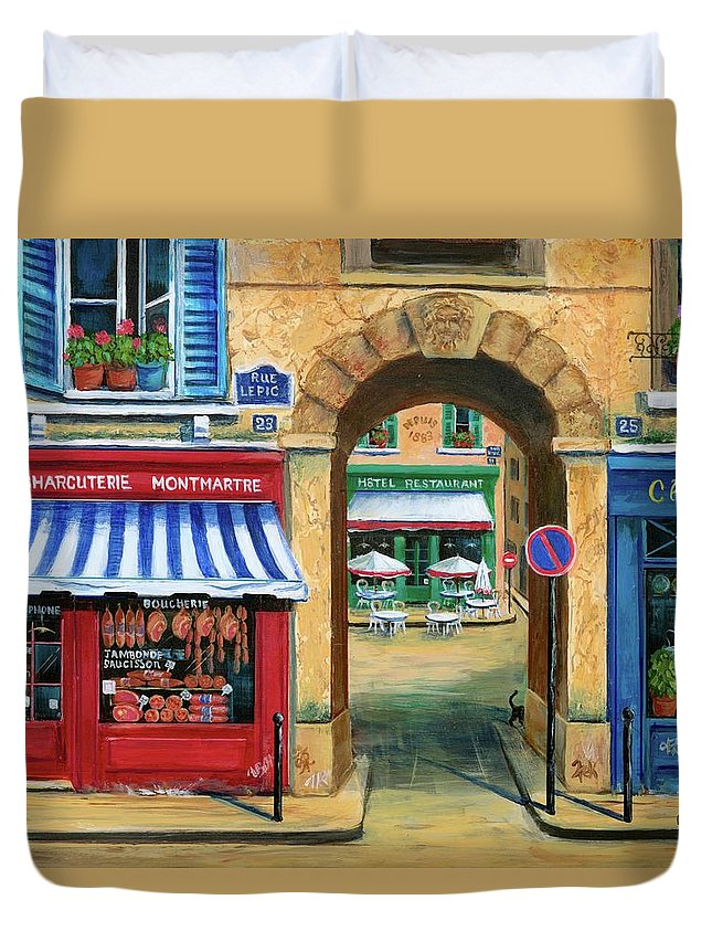 Paris Duvet Cover featuring the painting French Butcher Shop by Marilyn Dunlap