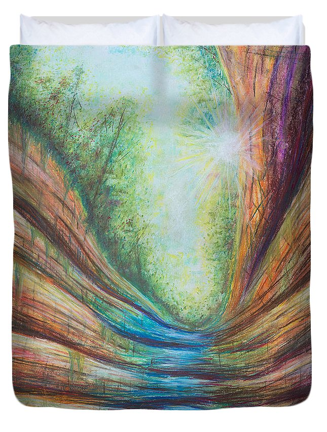 Colorful Duvet Cover featuring the pastel French Canyon At Starved Rock State Park by Austin Beyer