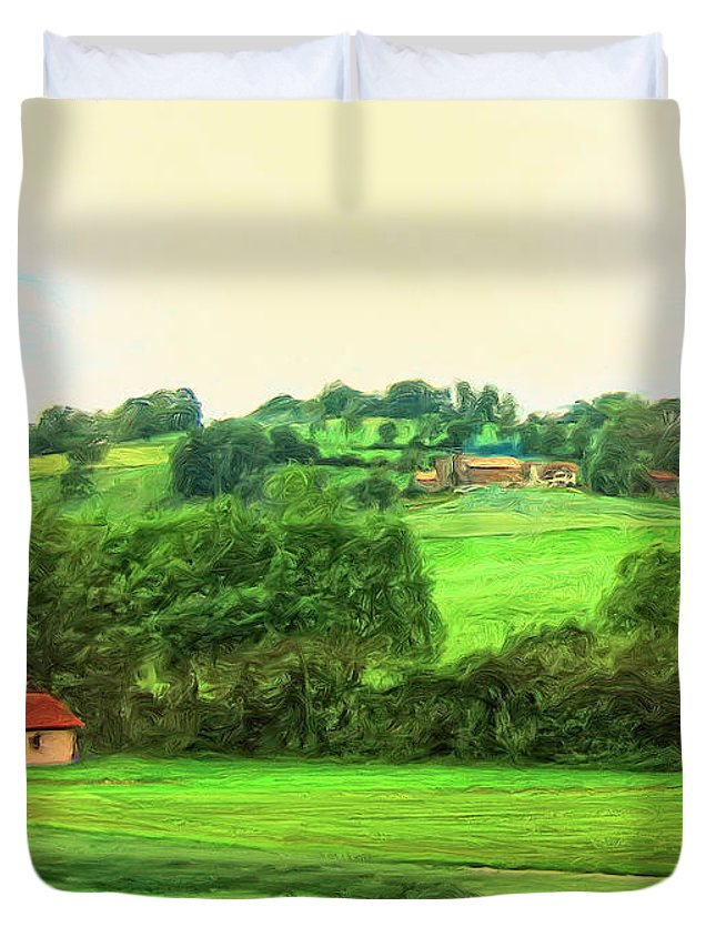 French Countryside Duvet Cover featuring the painting French Countryside by Dominic Piperata