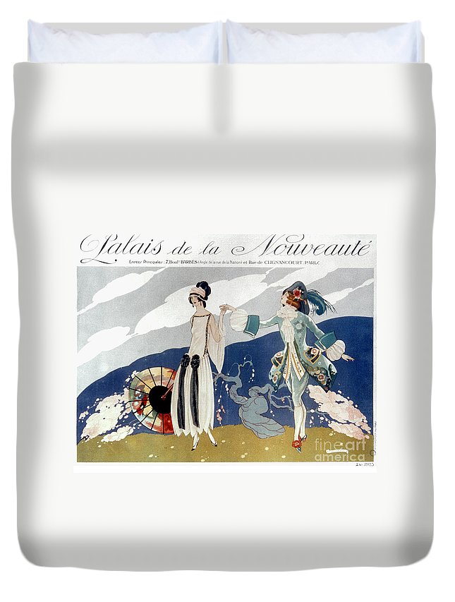 1923 Duvet Cover featuring the photograph French Fashion Ad, 1923 by Granger