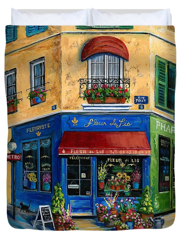 Paris Duvet Cover featuring the painting French Flower Shop by Marilyn Dunlap