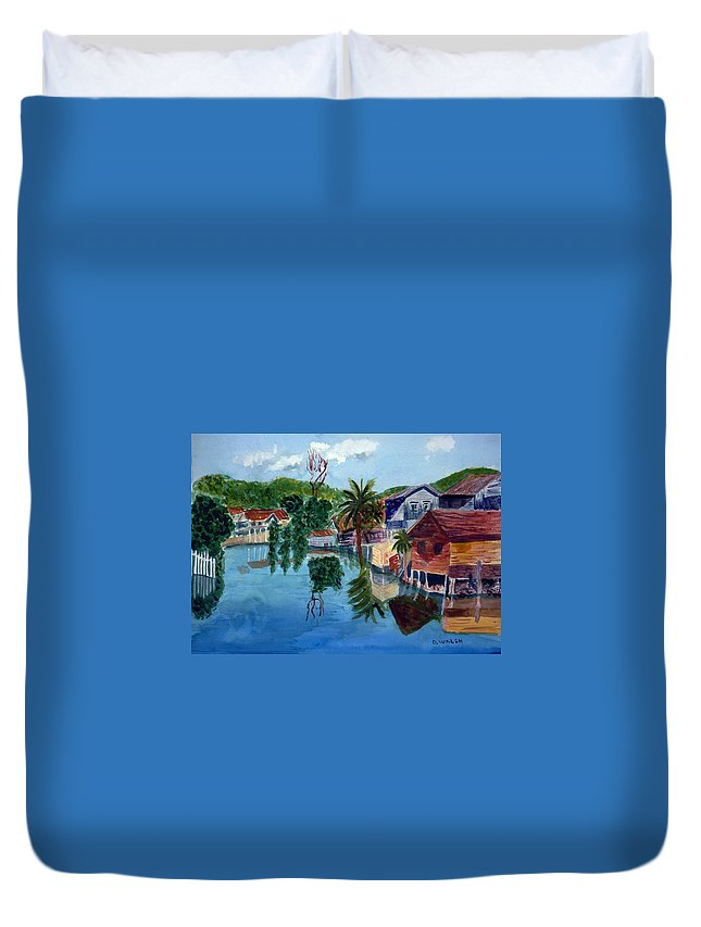 French Harbo Duvet Cover featuring the painting French Harbor Isla De Roatan by Donna Walsh