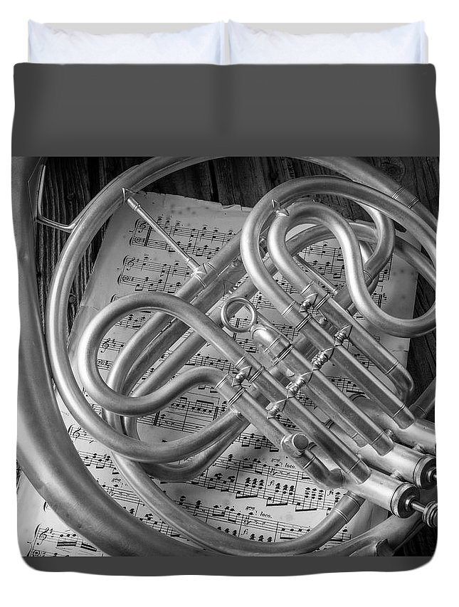 French Duvet Cover featuring the photograph French Horn In Black And White by Garry Gay