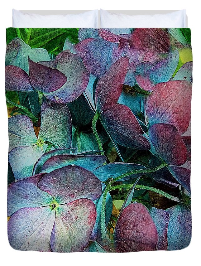 Hydrangea Duvet Cover featuring the painting French Hydrangea Rainbow by RC deWinter