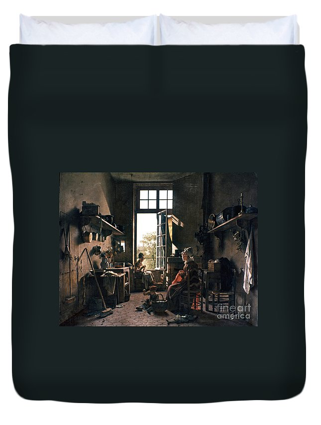 -domestic- Duvet Cover featuring the photograph French Kitchen by Granger