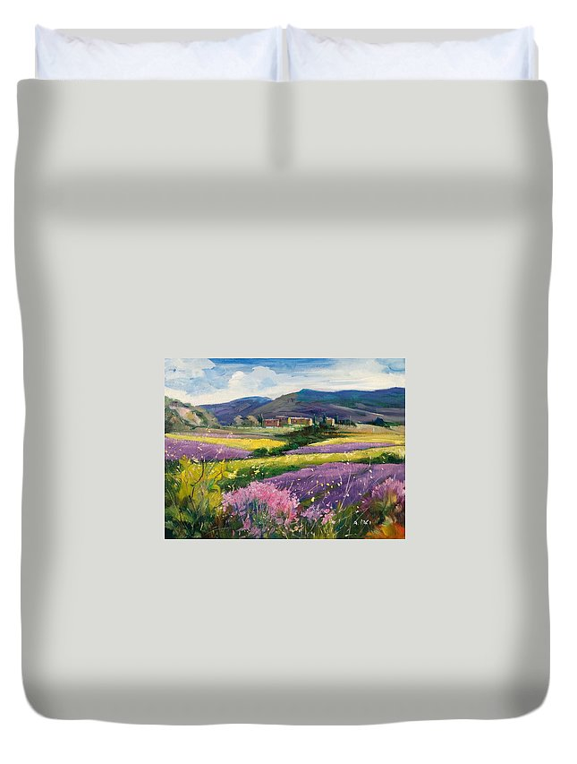 Painting Duvet Cover featuring the painting French Landscape by Alessandra Paci