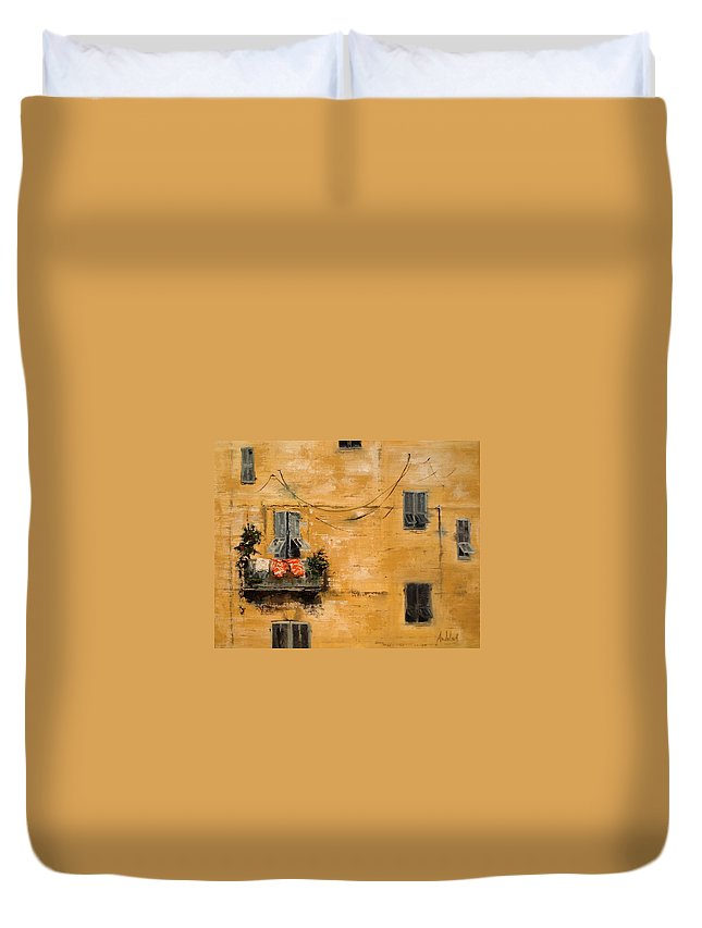 French Duvet Cover featuring the painting French Laundry by Barbara Andolsek