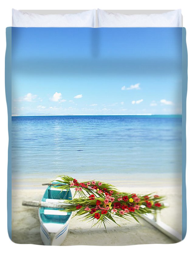 Afternoon Duvet Cover featuring the photograph French Polynesia, Huahine by Kyle Rothenborg - Printscapes