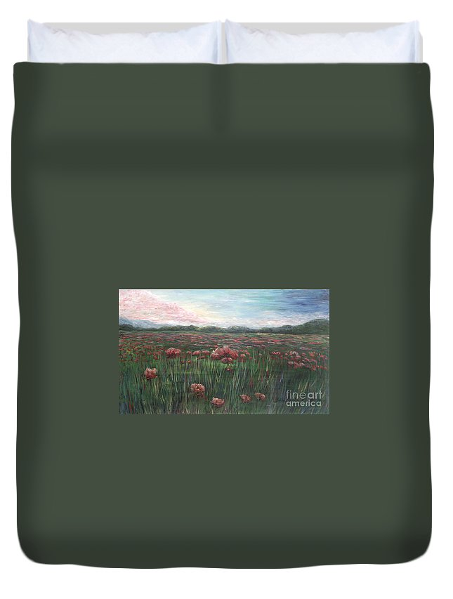 France Duvet Cover featuring the painting French Poppies by Nadine Rippelmeyer