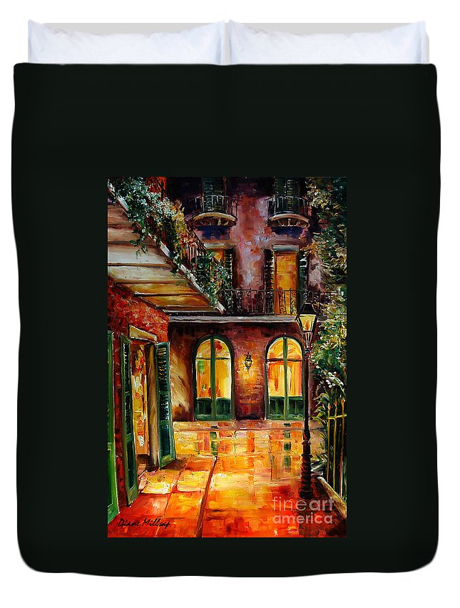 New Orleans Duvet Cover featuring the painting French Quarter Alley by Diane Millsap