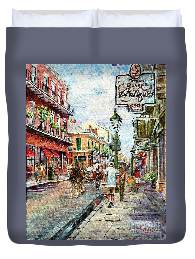 Royal Street Duvet Cover featuring the painting French Quarter Antiques by Dianne Parks