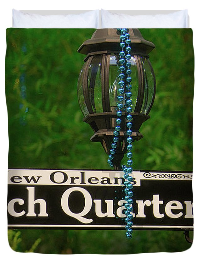 French Duvet Cover featuring the photograph French Quarter Sign by Garry Gay