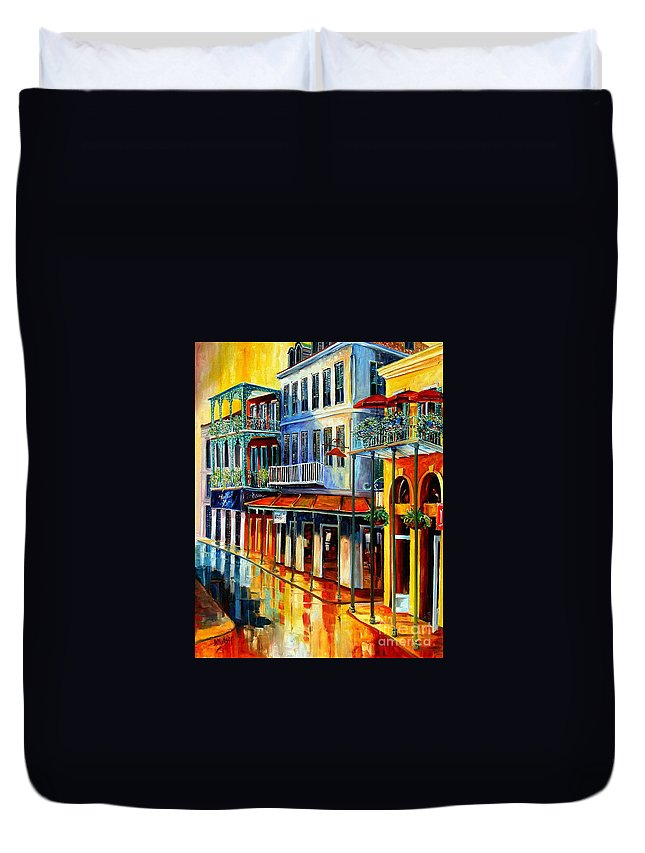New Orleans Paintins Duvet Cover featuring the painting French Quarter Sunrise by Diane Millsap