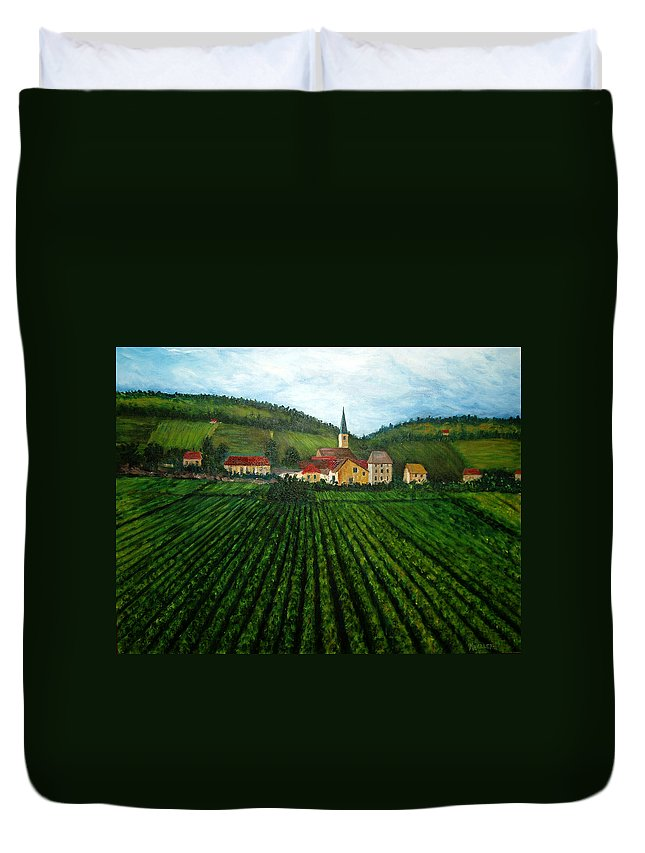Acrylic Duvet Cover featuring the painting French Village In The Vineyards by Nancy Mueller