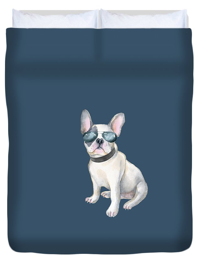 Aviators Duvet Cover featuring the digital art Frenchie French Bulldog Aviators Dogs In Clothes by Trisha Vroom