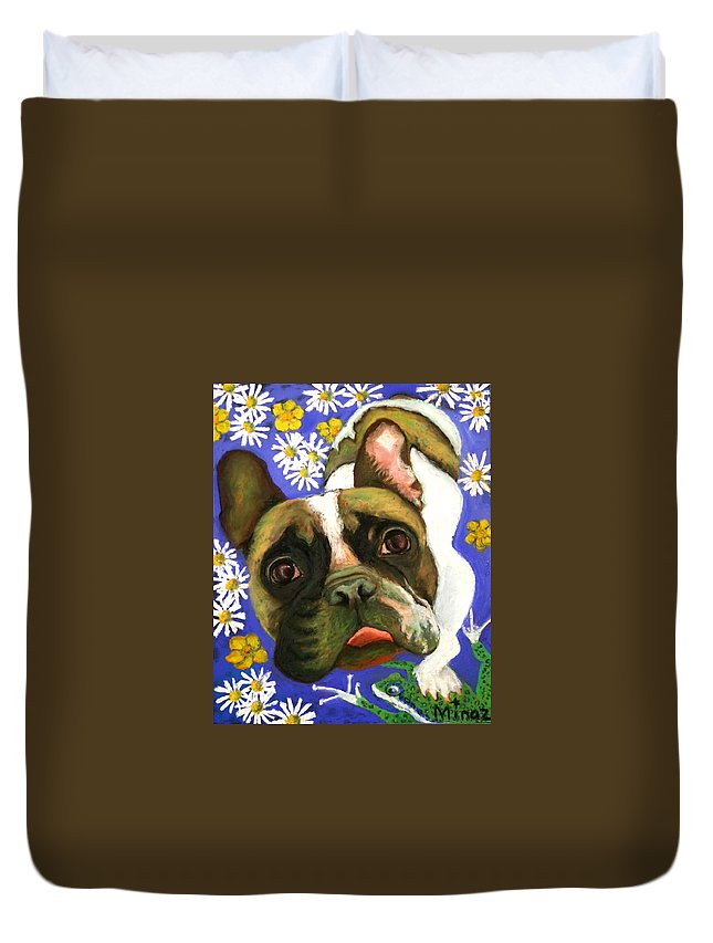 Pet Portrait Duvet Cover featuring the painting Frenchie Plays With Frogs by Minaz Jantz