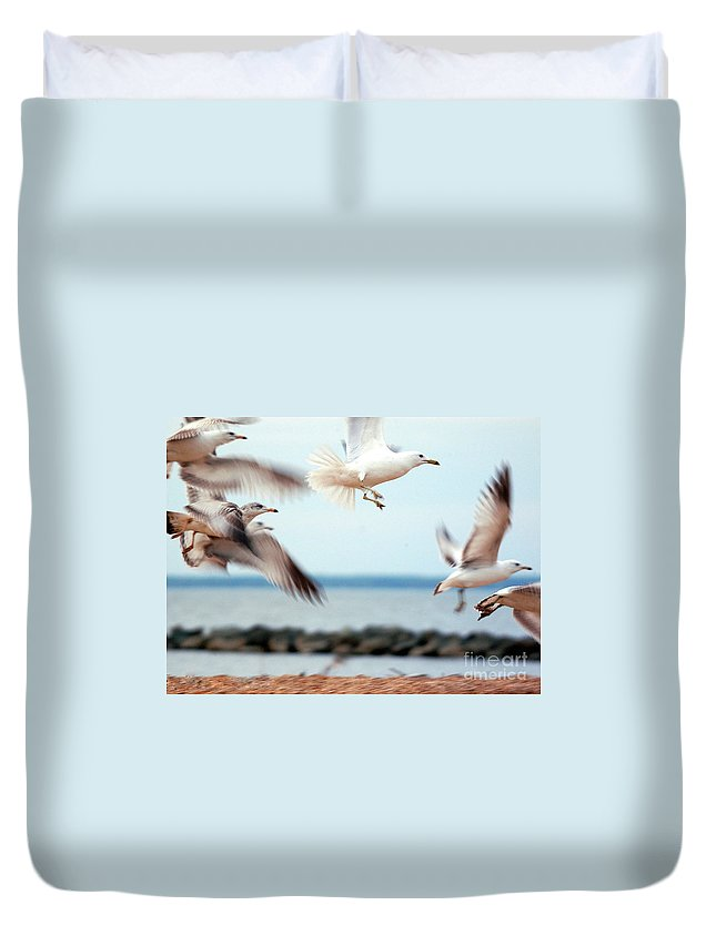 Clay Duvet Cover featuring the photograph Frenzy by Clayton Bruster