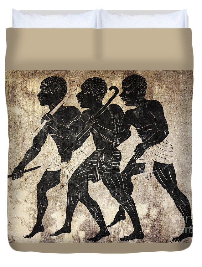 Fresco Duvet Cover featuring the mixed media Fresco - Hunters by Michal Boubin