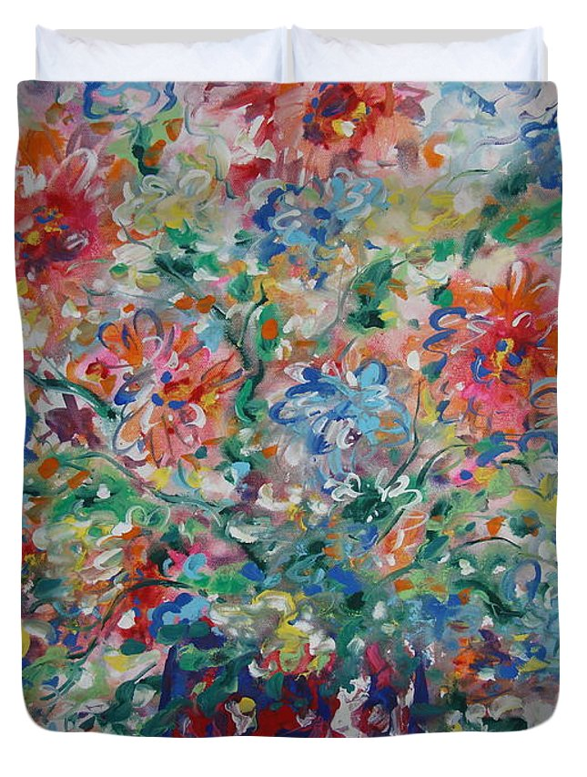 Flowers Duvet Cover featuring the painting Fresh Bouquet by Leonard Holland