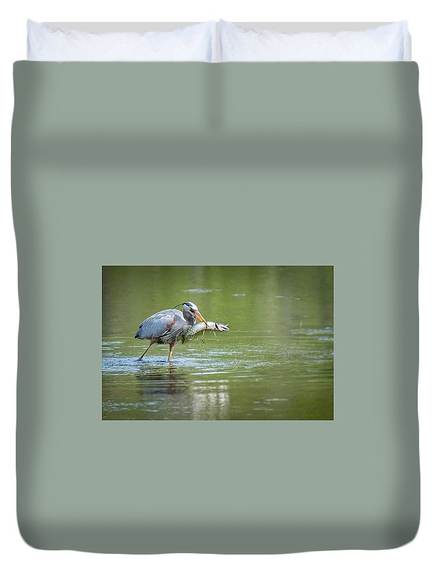 Heron Duvet Cover featuring the photograph Fresh Catch Of The Day by Alvin Sangma