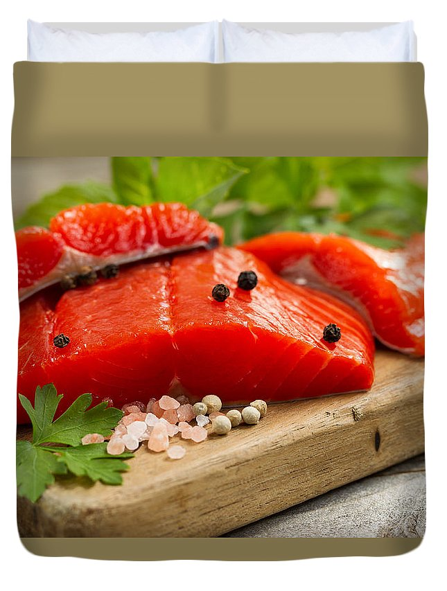 Salmon Duvet Cover featuring the photograph Fresh Copper River Salmon Fillets On Rustic Wooden Server With S by Thomas Baker