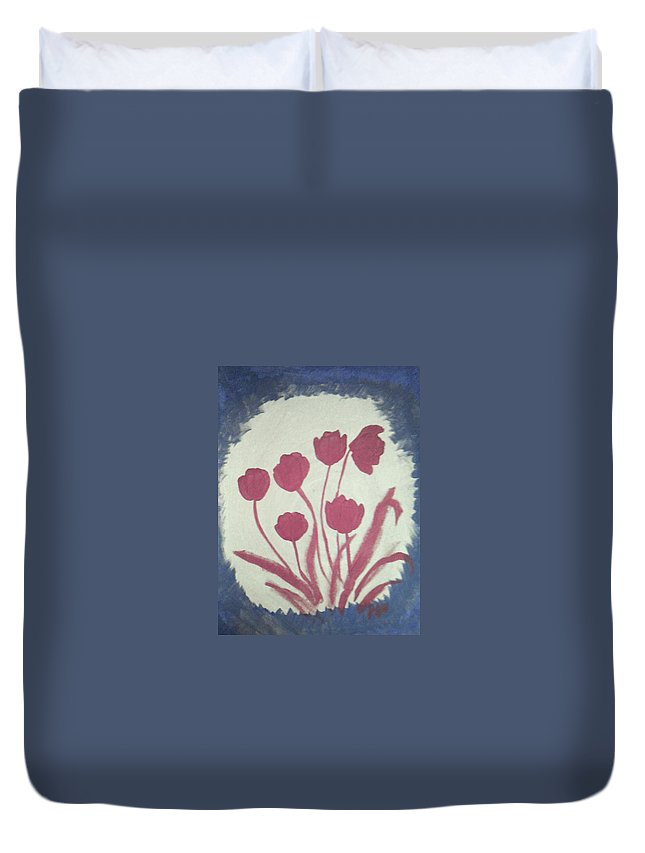 Floral Duvet Cover featuring the painting Fresh Flowers- 1st In Series-morning Shadow by Barbara Searcy