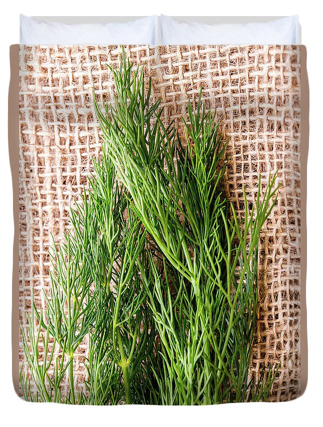 Dill Duvet Cover featuring the photograph Fresh Green Dill On Jute Bag by Piotr Marcinski