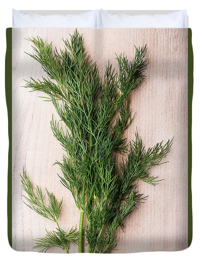 Dill Duvet Cover featuring the photograph Fresh Green Dill On Wooden Plank by Piotr Marcinski