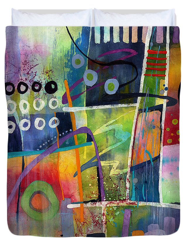 Abstract Duvet Cover featuring the painting Fresh Jazz by Hailey E Herrera
