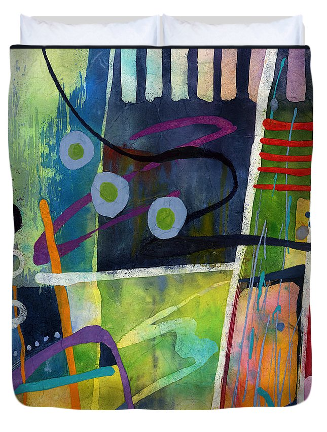 Abstract Duvet Cover featuring the painting Fresh Jazz in a Square by Hailey E Herrera
