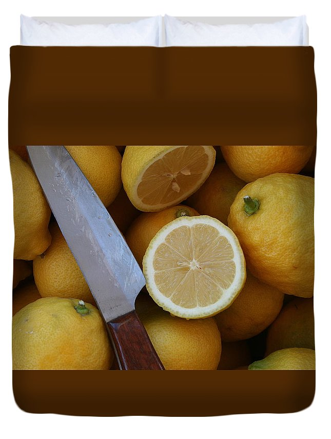Lemons Duvet Cover featuring the photograph Fresh Lemons by Marna Edwards Flavell