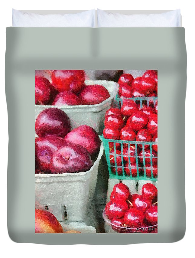 Apple Duvet Cover featuring the painting Fresh Market Fruit by Jeffrey Kolker