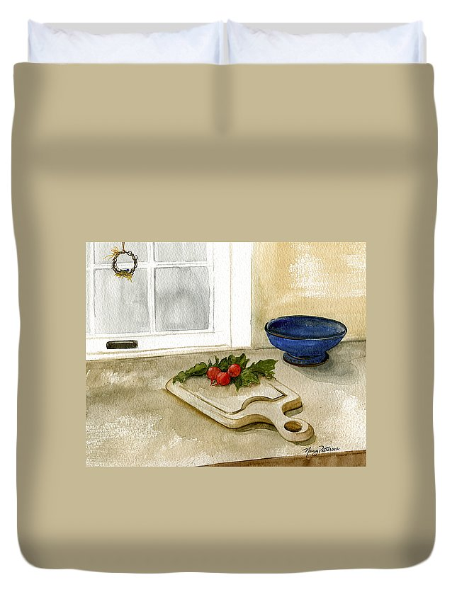 Radish Duvet Cover featuring the painting Fresh Radishes by Nancy Patterson