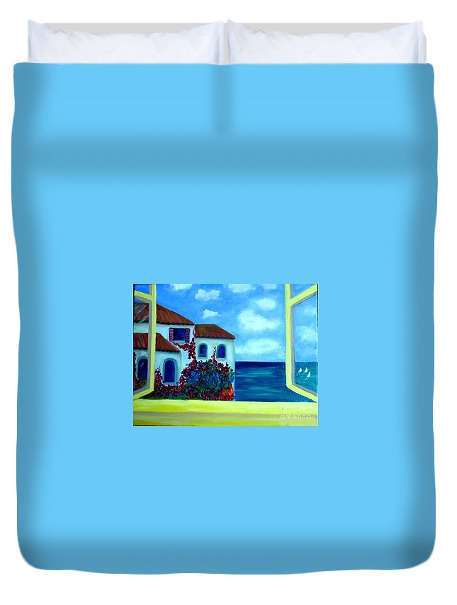 Seascape Duvet Cover featuring the painting Fresh Sea Air by Laurie Morgan