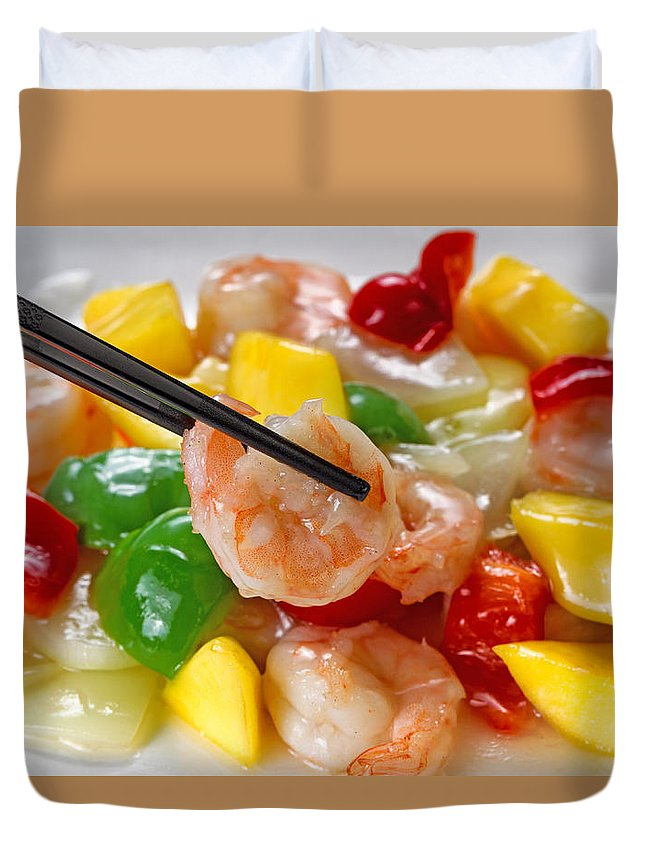Shrimp Duvet Cover featuring the photograph Fresh Shrimp And Peppers On White Serving Plate Ready To Eat by Thomas Baker