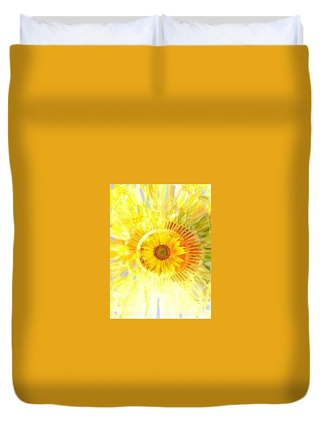 Sunflower Yellow Abstract Bright Pastel Duvet Cover featuring the digital art Fresh Start by Mhairi C James