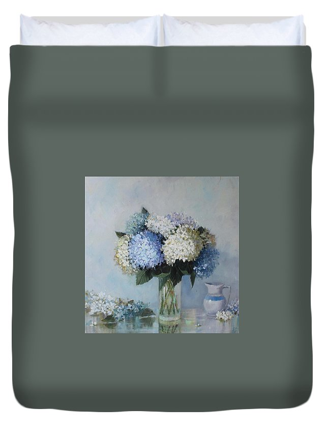 Hydrangea Duvet Cover featuring the painting Fresh Summer Hydrangea 2 by Hope Reis