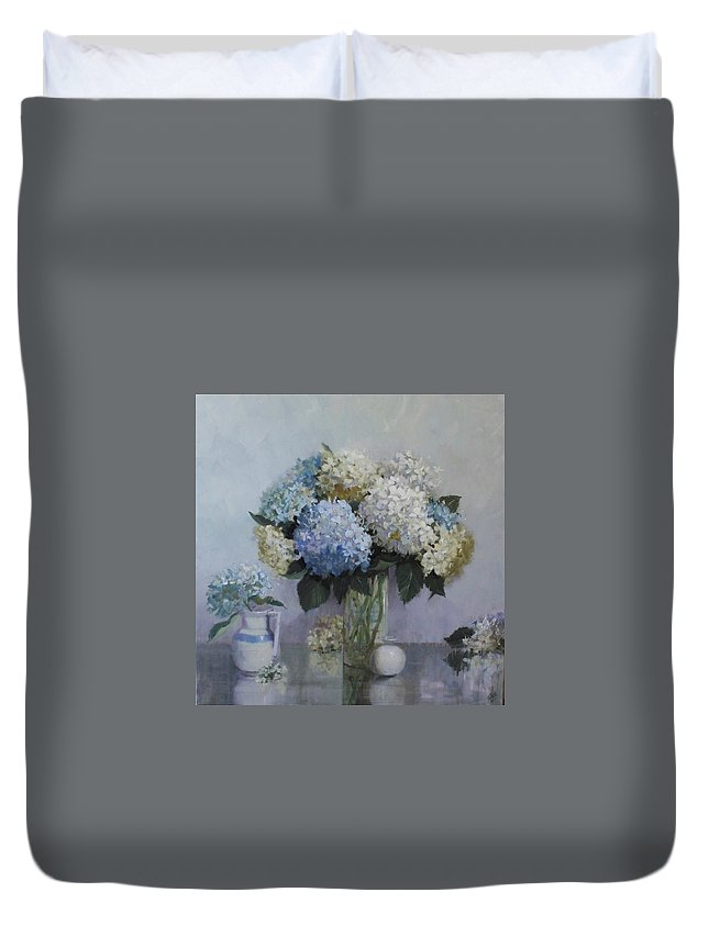 Hydrangeas Duvet Cover featuring the painting Fresh Summer Hydrangeas by Hope Reis
